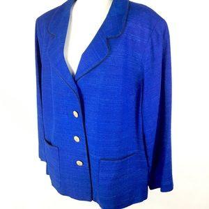 Plus Size Blazer Jacket Royal Blue Black Career